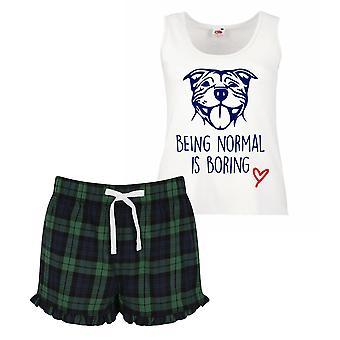 Staffy Being Normal is Boring Love Ladies Tartan Frill Short Pyjama Set
