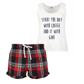 Start The Day With Coffee End It With Gin Ladies Tartan Frill Short Pyjama Set Red Blue or Green Blue