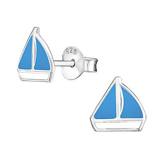 Boat - 925 Sterling Silver Colourful Ear Studs - W7392X