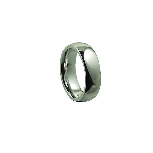 18ct White Gold 6mm plain Court Wedding Ring Size P