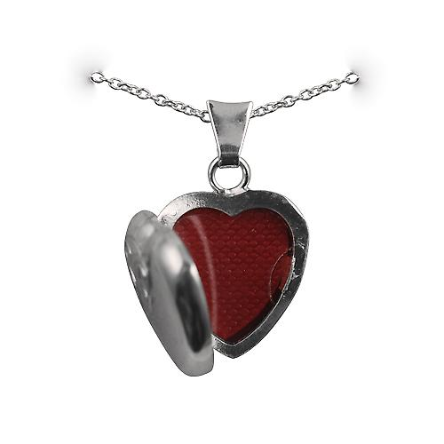 Silver 17x16mm half hand engraved heart shaped Locket with a rolo Chain 14 inches Only Suitable for Children