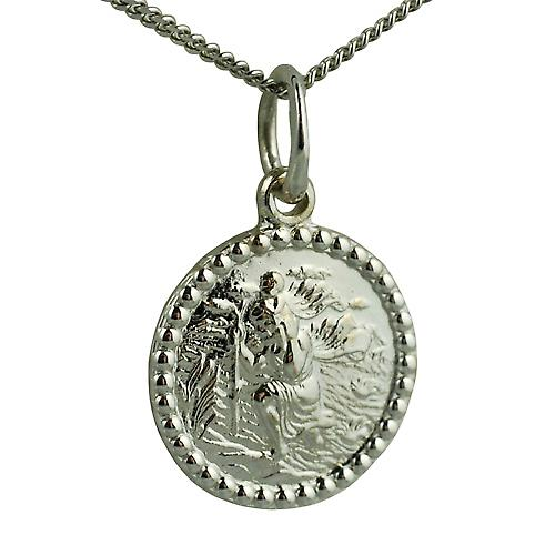 9ct White Gold 13mm round St Christopher Pendant with a curb Chain 16 inches Only Suitable for Children
