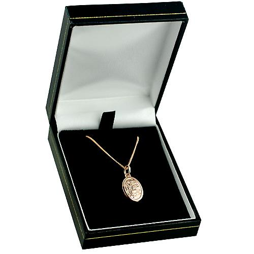 9ct Rose Gold 17x11mm oval St Christopher Pendant with a curb Chain 16 inches Only Suitable for Children