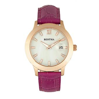 Bertha Eden Mother-Of-Pearl Leather-Band Watch w/Date - Fuchsia/Rose Gold