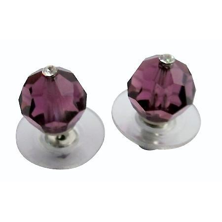 Amethyst Crystals Earrings Swarovski Amethyst Crystals Stud Earrings