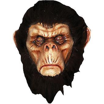 Schlechte braun Schimpanse Latex-Maske für Erwachsene