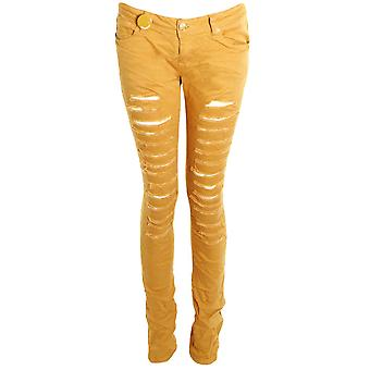 Ladies Coloured Denim Slim Skinny Ripped Effect Women's Trousers Jeans