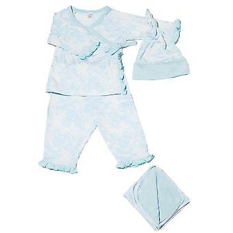 Baby grijs 4-dlg Gift Set (gegolfde Kimono top & Pant, Cap & deken)