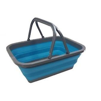 Yellowstone Foldable Basket with Handles Blue and White