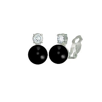 Eternal Collection Eternity Black Onyx & CZ Silver Stud Clip On Earrings