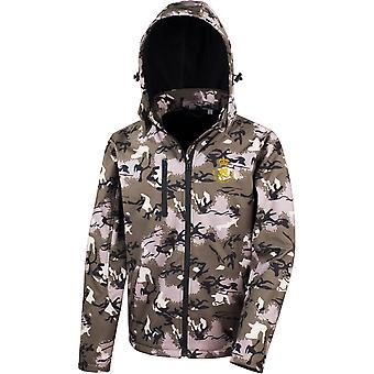Royal Waggon Train-licensierade brittiska armén broderade prestanda Hooded Camo Softshell jacka
