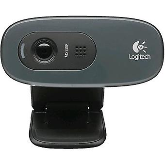 Logitech webcam hd c270 usb 3mpx 1280x720 fluid crystal built-in microphone clip fixing detection automatic face and movement