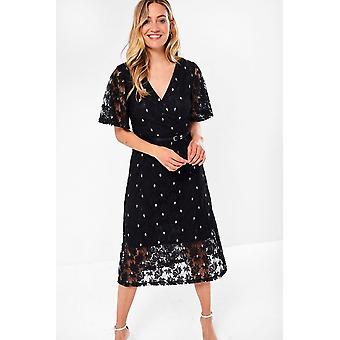 iClothing Aoife Floral Lace Dress In Black-16