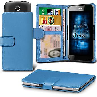 ONX3 Acer Liquid Jade S Leather Universal Spring Clamp Wallet Case With Card Slot Holder and Banknotes Pocket-Light Blue
