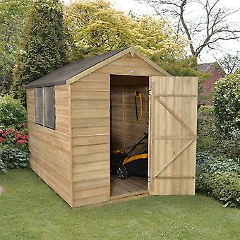 Forest Garden 6x8ft Pressure Treated Overlap Apex Garden Shed
