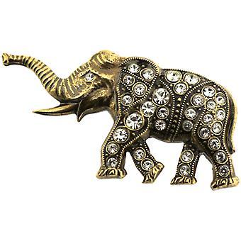Cavendish French Victorian Antique Gold & Austrian Crystal Elephant Brooch