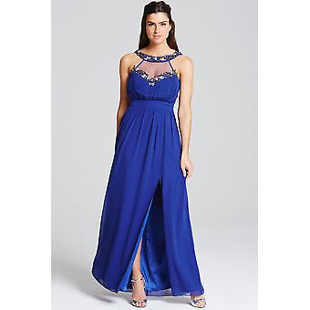 Little Mistress Cobalt Embellished Trim Maxi Dress