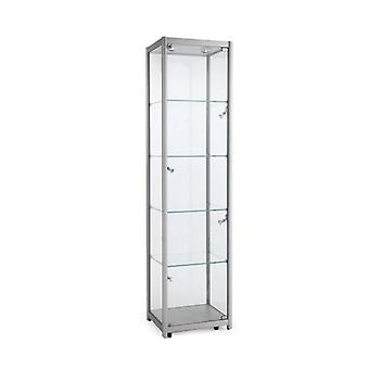 Silver Glass Display Cabinet with Lighting - 600mm