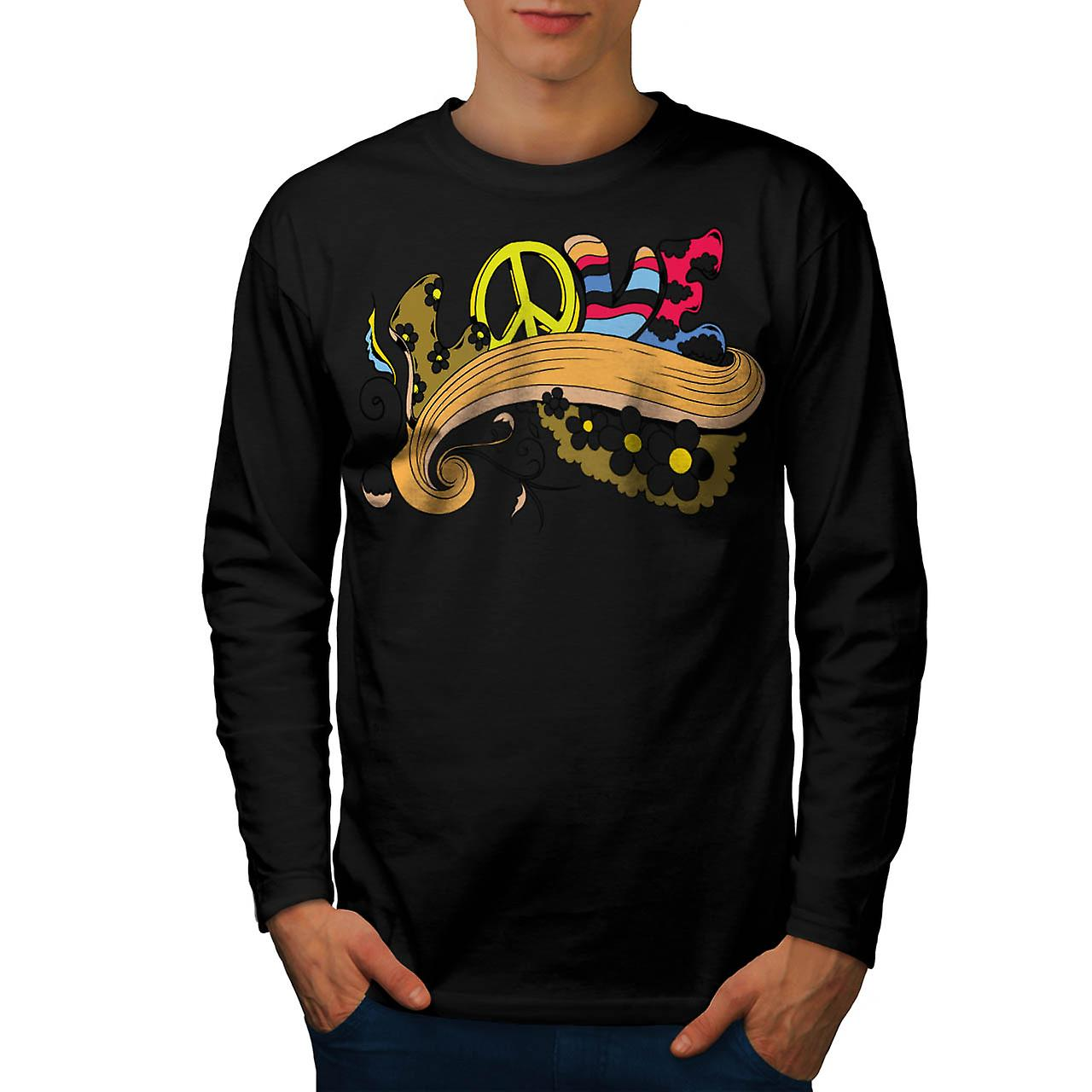 Peace Love Music USA Flower Fun Men Black Long Sleeve T-shirt | Wellcoda