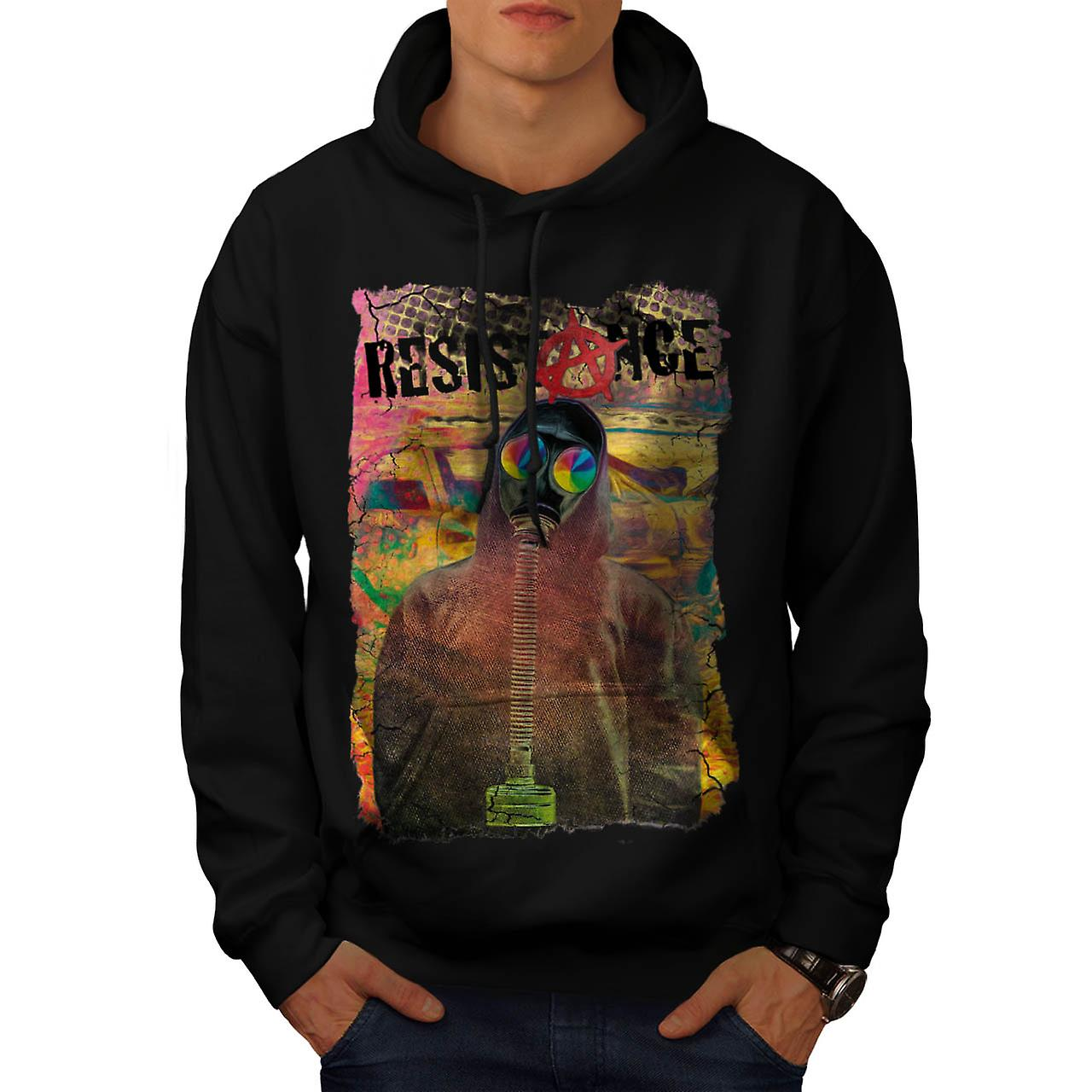Resistance Protest Anarchy City Men Black Hoodie | Wellcoda
