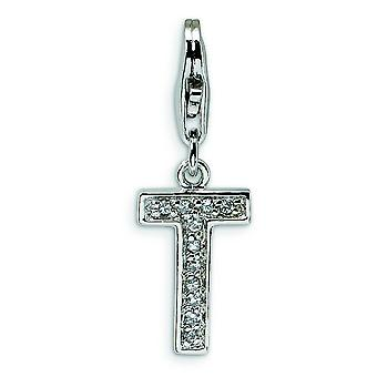 Sterling Silver CZ Letter T With Lobster Clasp Charm - Measures 24x8mm