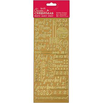 Papermania Outline Stickers-Contemporary kerst betrekkingen-goud PM810910