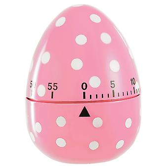 Eddingtons Pink Spotted Egg Shape 60 Minute Timer