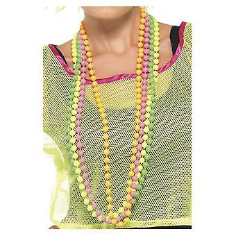80er Jahre Nena Style Perlenketten Set 4 Ketten neon
