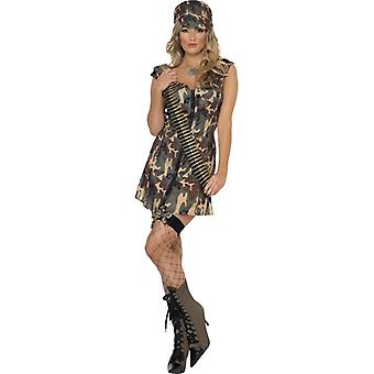 Army girl costume with dress and hat size M