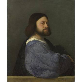 Titian - A Man with a Quilted Sleeve Poster Print Giclee