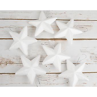 6 Large Polystyrene Hanging Star Ornaments to Decorate - 100mm
