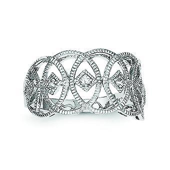 Sterling Silber poliert rhodiniert Vintage-Stil Zirkonia Ring - Ring-Größe: 6 bis 8
