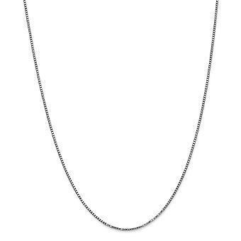 14k White Gold Solid Polished Lobster Claw Closure 1.25mm Box Chain Necklace - Length: 14 to 30