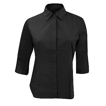 Russell Collection Ladies 3/4 Sleeve Poly-Cotton Easy Care Fitted Poplin Shirt