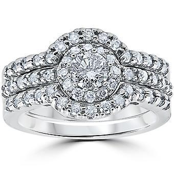 1 1/10Ct Round Cut Diamond Trio Engagement Guard Wedding Ring Set White Gold