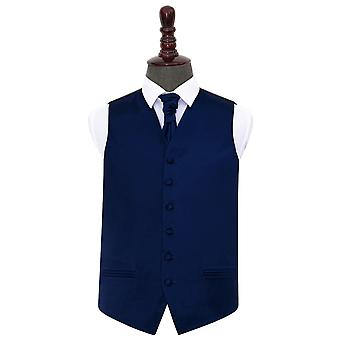 Navy Blue Plain Satin Wedding Waistcoat & Cravat Set
