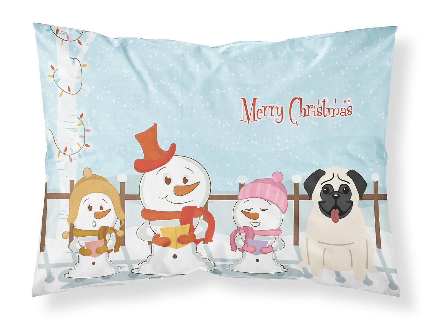 Chanteurs D'oreiller Taie Crème Pug Joyeux Noël Standard Tissu vNn80wOm