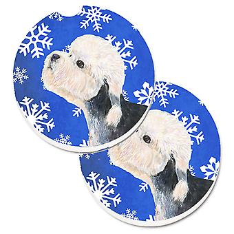 Dandie Dinmont Terrier Winter Snowflakes Holiday Set of 2 Cup Holder Car Coaster