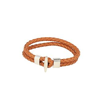 Baxter jewelry London leather bracelet braided whiskey Brown Schmuck clasp silver 21 cm