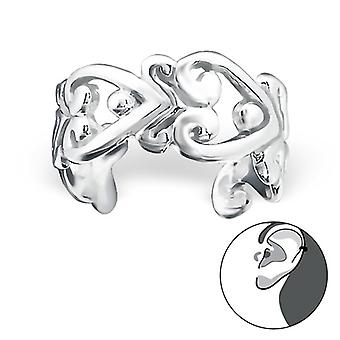 Heart - 925 Sterling Silver Ear Cuffs - W22170x