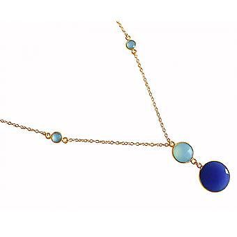 Gemshine - ladies - necklace - pendant - 925 silver plated - chalcedony - sapphire - sea green - blue - 45 cm