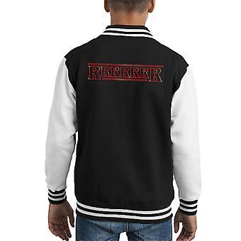 Rrrrrrr Dustin Quote Stranger Things Font Kid's Varsity Jacket