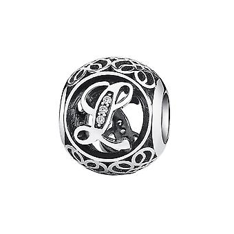 Sterling silver charm with zirconia stones letter L PSC008-L