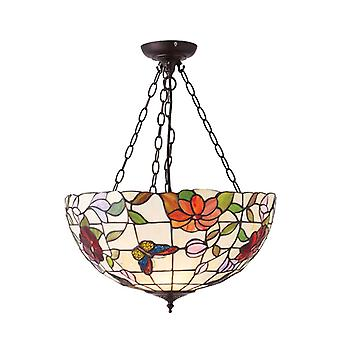 Butterfly Large Tiffany Style Inverted Three Light Ceiling Pendant - Interiors 1900 70746