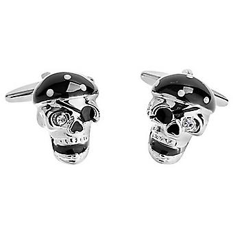 Zennor Pirate Skull Cufflinks - Black/Silver