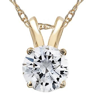 3/4ct Diamond Solitaire Pendant 14K Yellow Gold Womens Necklace Enhanced