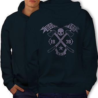 WoodBikerss Club Men NavyHoodie Back | Wellcoda