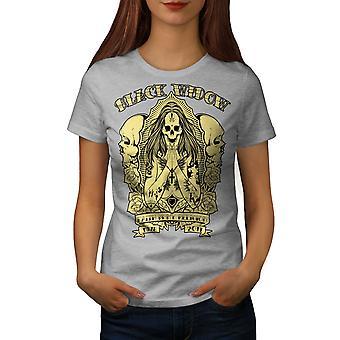 Black Skull Goth kvinner GreyT-skjorte   Wellcoda