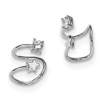 Sterling Silver Rhodium-plated CZ and Star Earring Cuff