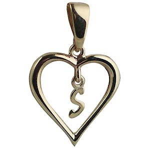 9ct Gold 18x18mm heart Pendant with a hanging Initial S